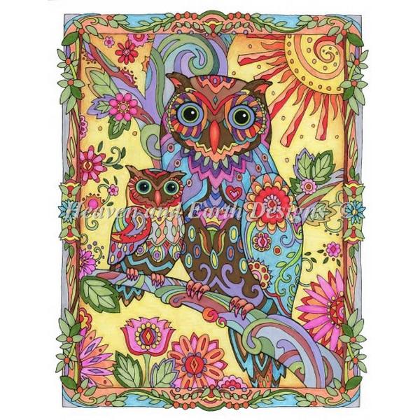 クロスステッチ キット 上級者 全面刺し Owl And Baby-HAED(Heaven And Earth Designs)