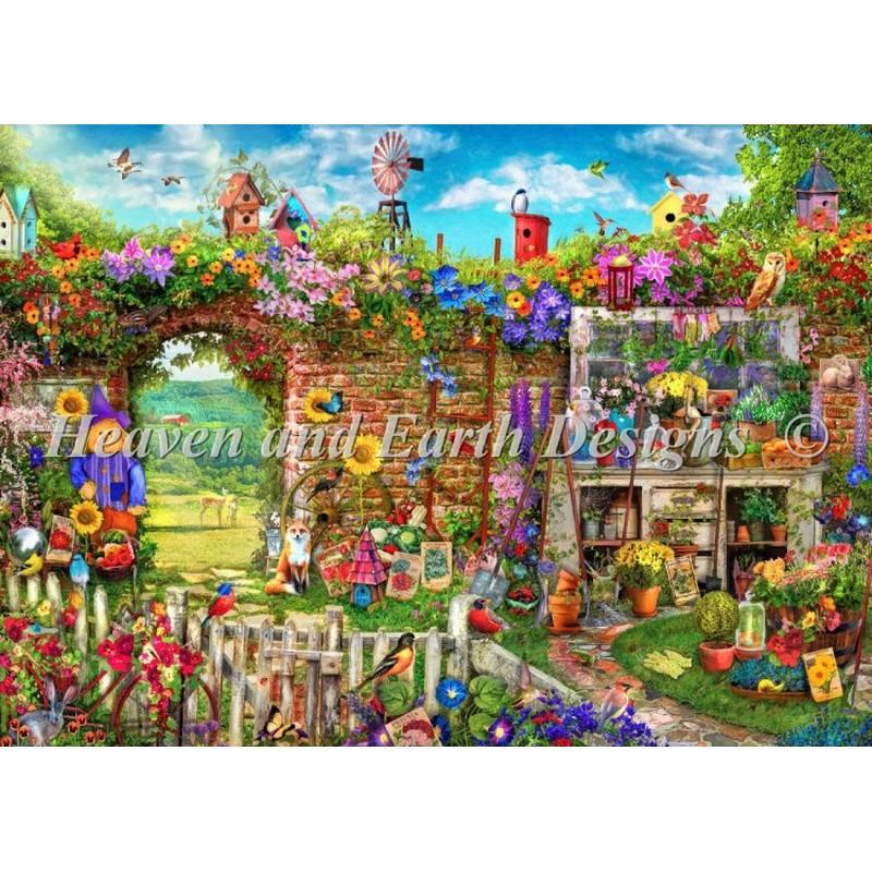 クロスステッチ 刺繍キットMini Garden Gate-HAED(Heaven and Earth Designs)