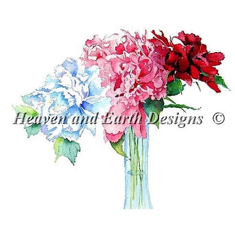クロスステッチ キット 上級者 全面刺し Peonies - HAED(Heaven And Earth Designs)25ctルガナ