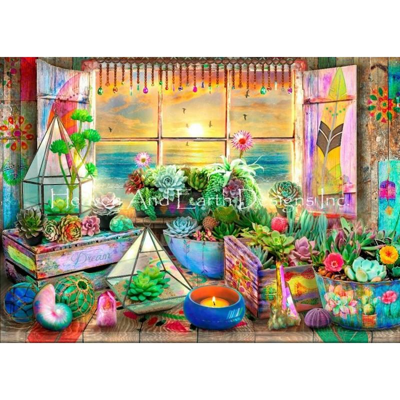 クロスステッチ キット 上級者 全面刺し25ctBoho Seaside View Max Colors-HAED(Heaven and Earth Designs)