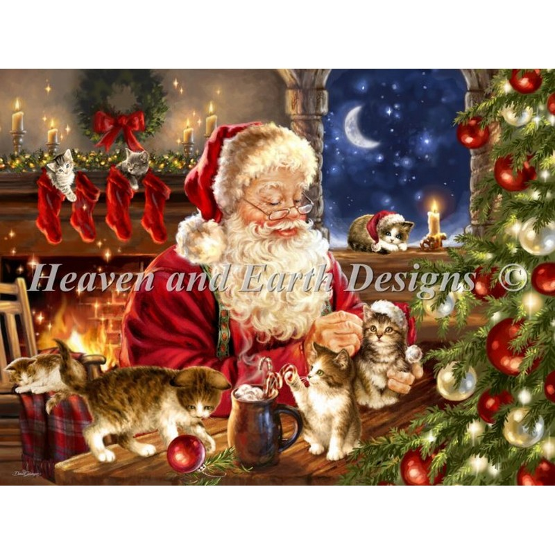 クロスステッチキット25ctルガナKitten Christmas - HAED(Heaven And Earth Designs)