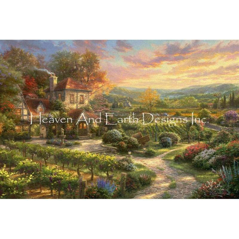 クロスステッチキット25ctルガナWine Country Living - HAED(Heaven And Earth Designs)