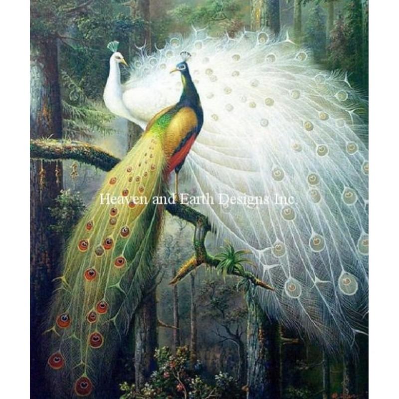 クロスステッチキット28ctルガナForest Peacocks - HAED(Heaven And Earth Designs)