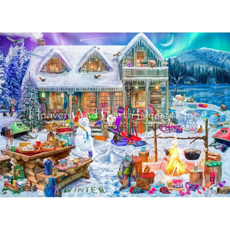 クロスステッチキット25ctルガナFamily Winter Cabin- HAED(Heaven And Earth Designs)