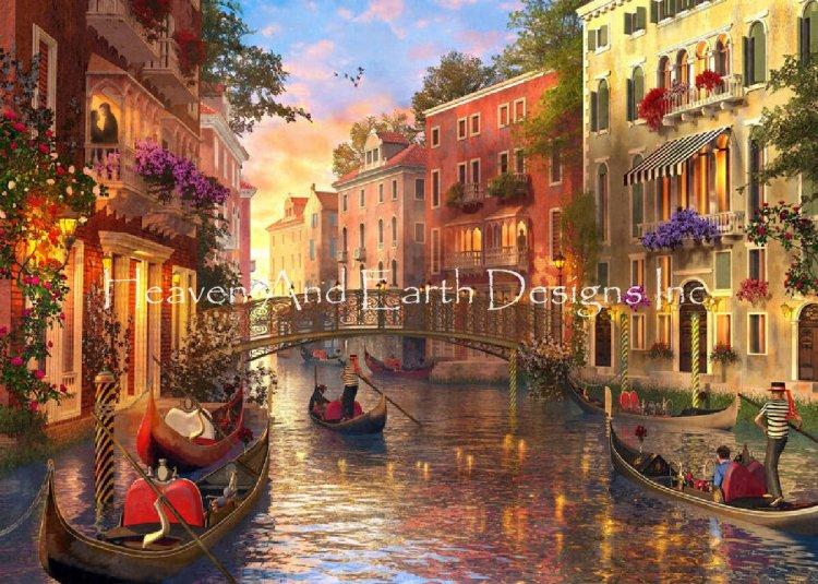 クロスステッチ キット 上級者 全面刺し風景 Mini Sunset In Venice-HAED(Heaven and Earth Designs)