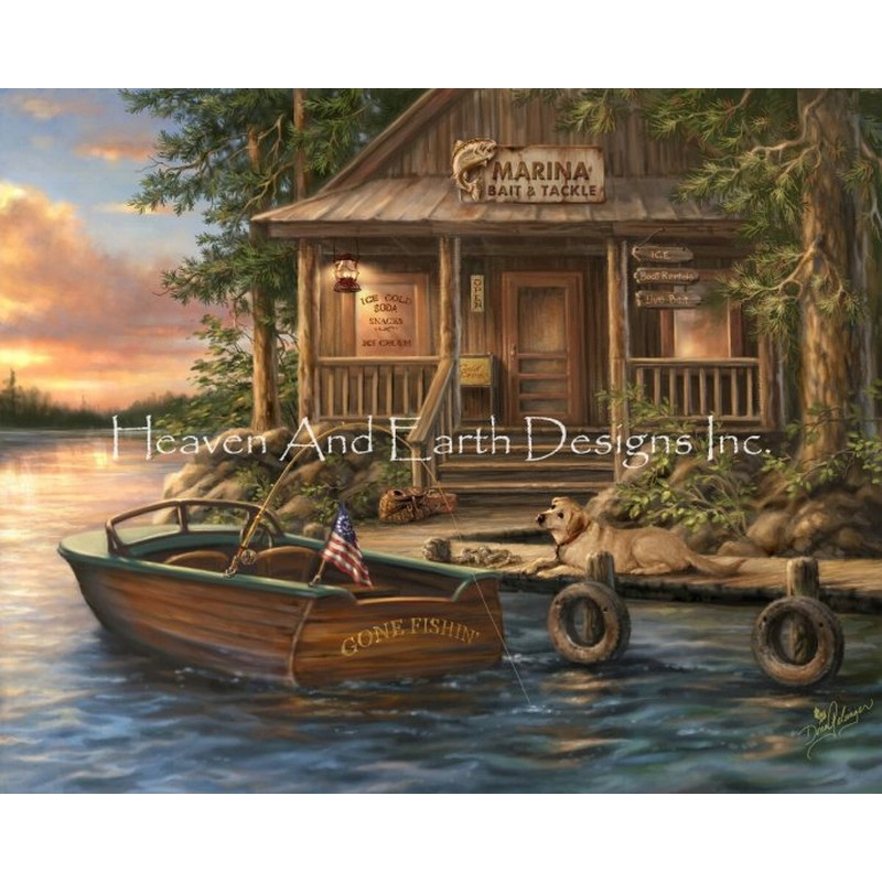 Mini Lake Of The Woods Marina25ctルガナクロスステッチ キット -HAED(Heaven and Earth Designs)