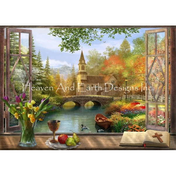 Autumn Church Frame-Heaven And Earth Designs(HAED) クロスステッチ刺繍キット クロスステッチキット 海外