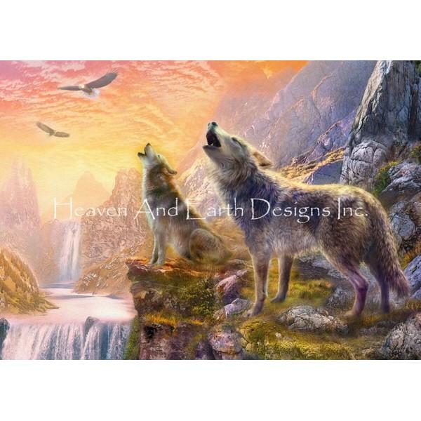 クロスステッチ キット 上級者 全面刺し Sunset Howling Wolves-Heaven And Earth Designs(HAED)