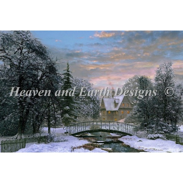 クロスステッチキットSnow Scene Sunset-HAED(Heaven And Earth Designs