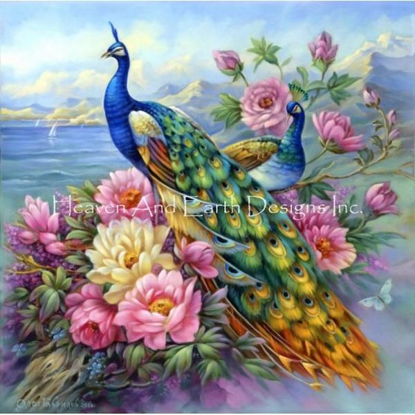 クロスステッチキットPeacocks in Flowers-HAED(Heaven And Earth Designs