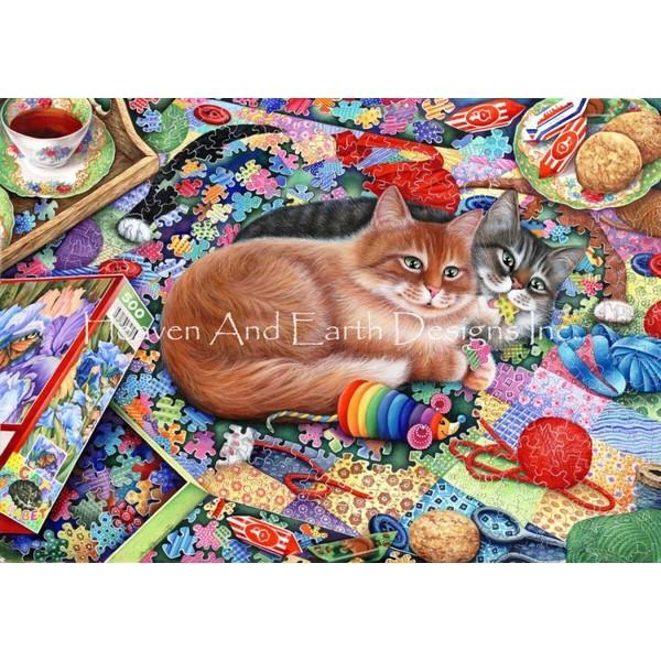 クロスステッチ キット 上級者 全面刺し 猫 Puzzle Cats-HAED(Heaven And Earth Designs