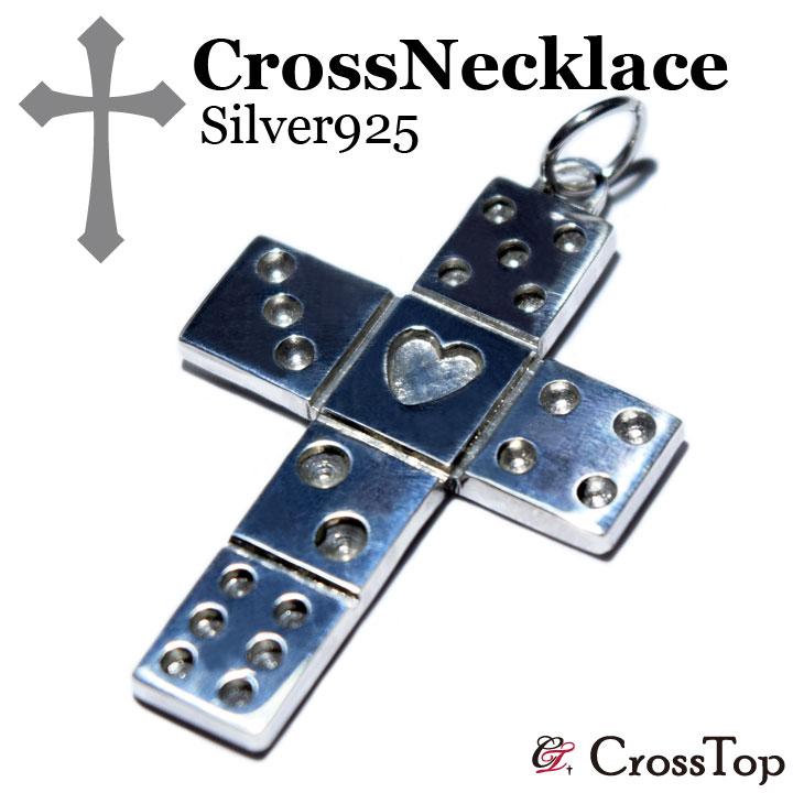 【一点もの】クロス ダイス サイコロ <ペンダントトップ> シルバー925 ネックレス 十字架 メンズ レディース ハンドメイド 手彫り プレゼント 彼氏 彼女