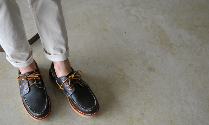 NEW ENGLAND OUTERWEAR COMPANY New England outerware Company 3Eye Boat Shoe(Vibram Olympic Beige) leather deck shoes