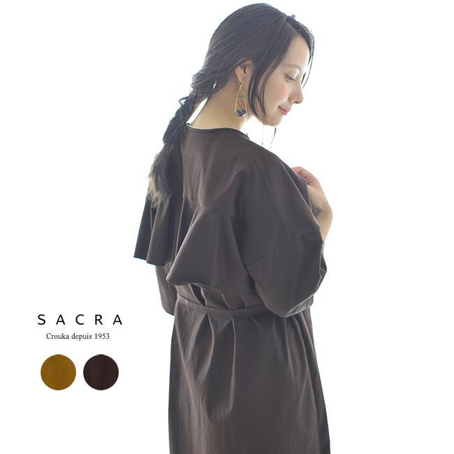【SALE!25%OFF】SACRA サクラ タスラン ツイル バックフリル ワンピース ・118506041#0802【送料無料】【セール】【返品交換不可】【SALE】