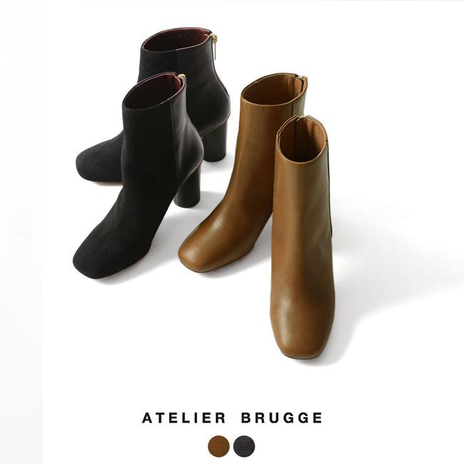 【SALE!20%OFF】atelier brugge アトリエブルージュ スクエア バックジップアップ ショート ブーツ ・1266#0905【送料無料】【セール】【返品交換不可】【SALE】