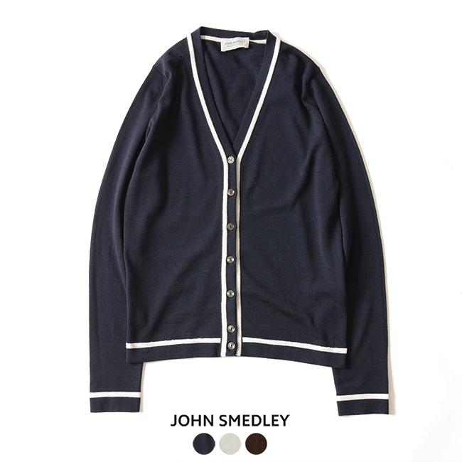 2018秋冬新作 JOHN SMEDLEY ジョンスメドレー Vネック ラインカーディガン ・A4192【送料無料】#0919