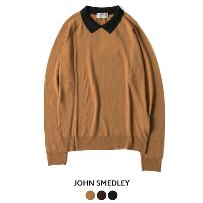 2018秋冬新作 JOHN SMEDLEY ジョンスメドレー バイカラー クレリック ポロニット ・A4194 【送料無料】#0920