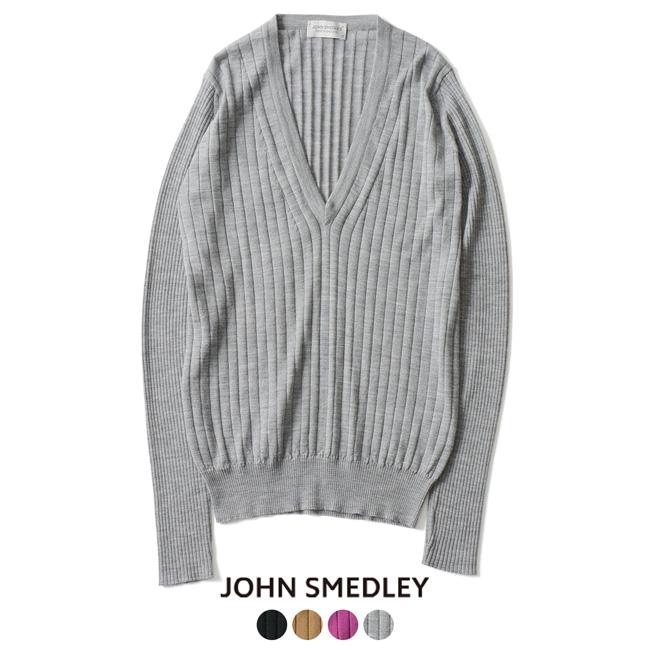 2018秋冬新作 JOHN SMEDLEY ジョンスメドレー EASTON Vネック リブ セーター 【送料無料】#0920