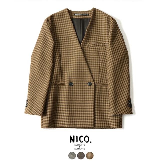 【SALE!30%OFF】NICO,nicholson&nicholson ニコ ニコルソン&ニコルソン ノーカラージャケット SILVER・IVY・LOVE#1001【送料無料】【セール】【返品交換不可】【SALE】