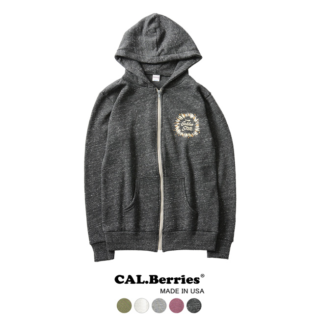 2018秋冬新作 CAL.Berries カルベリーズ FLEECY GOLDEN STATE 裏起毛 ジップアップ パーカー・35TF001GS #1010