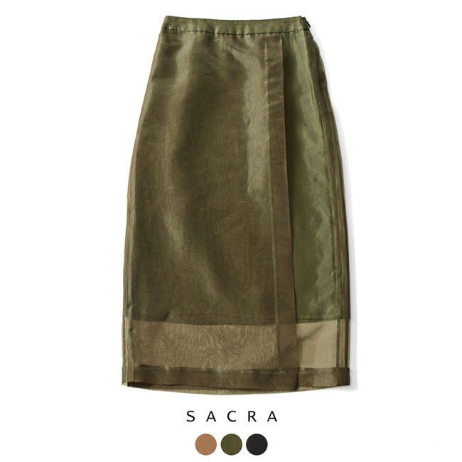【アウトレット】【SALE!30%OFF】SACRA サクラ オーガンジー ラップ スカート ・118613121#1009【セール】【返品交換不可】【SALE】