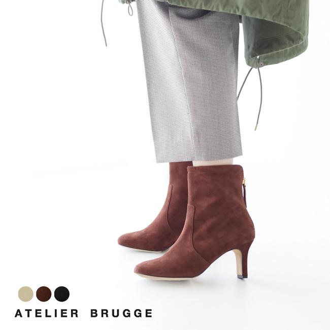 【アウトレット50%OFF】アトリエブルージュ/ATELIER BRUGGE スクエアトゥ セットバッグヒール ショート ブーツ レディース シューズ 19PS-20 1106【セール】【返品交換不可】【SALE】【送料無料】