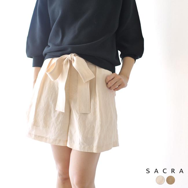 サクラ SACRA ウエストリボン ハイウエスト ショートパンツ ・119111112 【送料無料】2019春夏新作 #0221