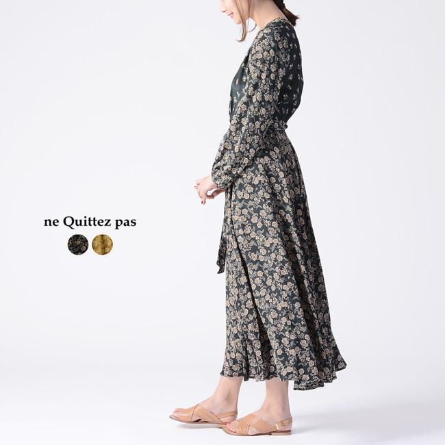 ヌキテパ ne Quittez pas FLOWER PRINT LONG DRESS フラワープリント ロング ドレス ワンピース クラシカル レトロ ・010491547 【送料無料】2019春夏新作 #0306
