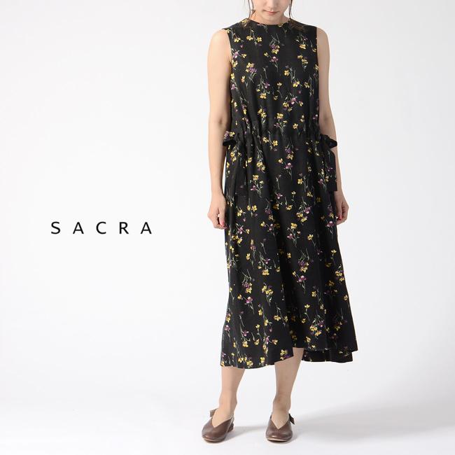 サクラ SACRA フラワープリント ノースリーブ ロングワンピース ドレス ・119206041 【送料無料】2019春夏新作 #0329