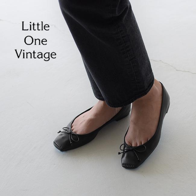 リトル ワン ヴィンテージ Little One Vintage スクエア トゥ バレエ シューズ BALLET SHOES レザー スエード フラットシューズ リボンモチーフ レディース 2020秋冬 19SLVSH02 23.0cm-25.0cm 【送料無料】0610