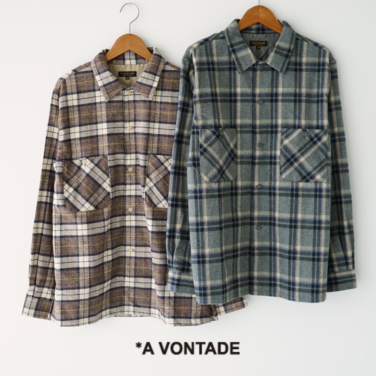 アボンタージ A VONTADE クレイジーチェック オープン シャツ Crazy Check Open Shirts L S ネルチェック ボックスシルエット 長袖 シャツ メンズ 2020秋冬 トップス VTD-0332-SH 【送料無料】 0830