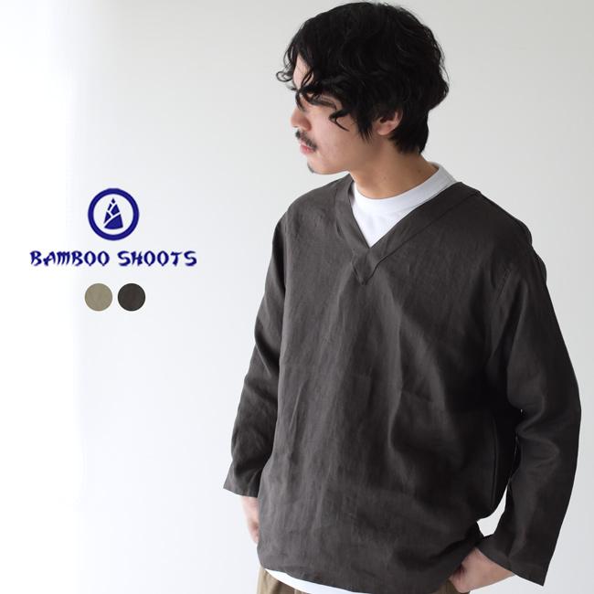 バンブーシュート BAMBOO SHOOTS リネンクロス スリーピング シャツ Linen Cloth Sleeping Shirt ワイドシルエット Vネック プルオーバ シャツ メンズ 2020春夏 トップス 2001014 0425