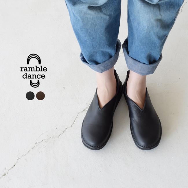 ランブルダンス ramble dance オイルシュリンクレザー Vカット フラット シューズ スリッポン レディース 2020秋冬 靴 352-01603 【送料無料】 0718[クーポン対象外]