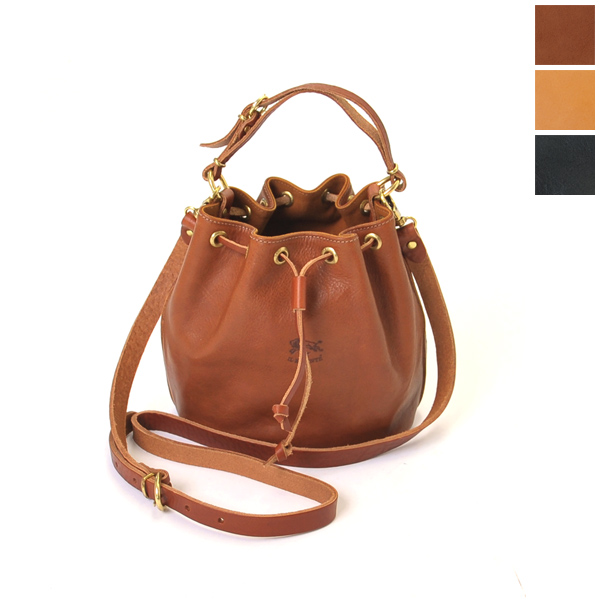 And Il Bisonte イルビゾンテ Leather Drawstring Bag 2 Way 5432403110 3 Colors