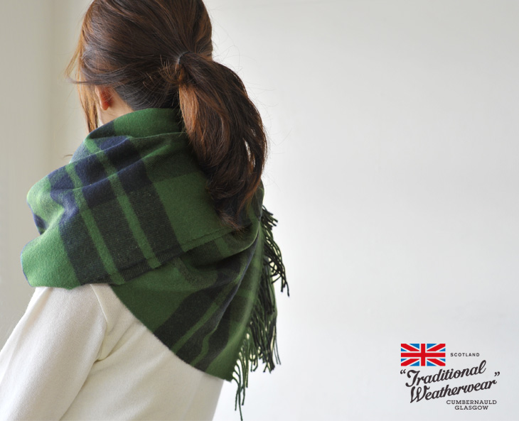 Traditional Weatherwear traditional weather were checked blanket scarf & acc132-15 (7 colors)