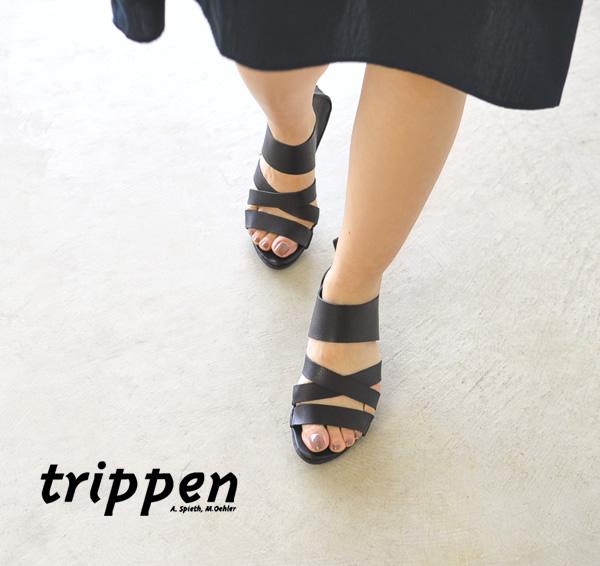 trippen 트립펜 X + OS컬렉션 TOUGH/백 Zip 크로스 스트랩 레더 샌들・WAW
