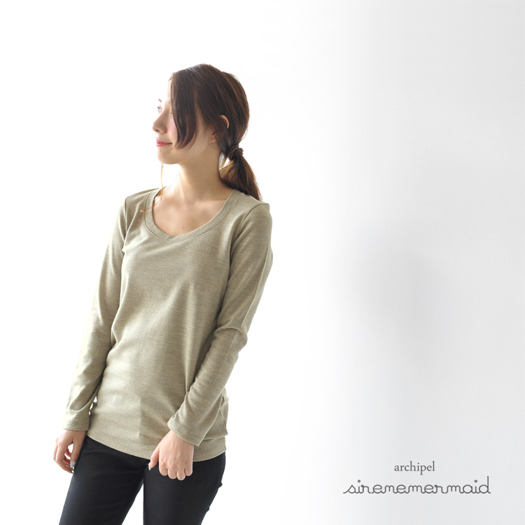 10 / 28 Up to 23:59! -Archipel sirene mermaid シレーネマーメイド washable wool scoop neck long knit mwaa5009l (11 colors) (M)