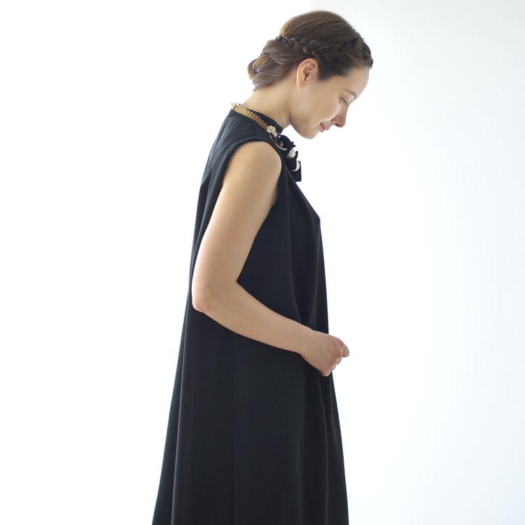 WHYTO ホワイト ダブルサテン ハイネック ノースリーブ ワンピース ドレス ・WHT17HOP1 【送料無料】 #0228