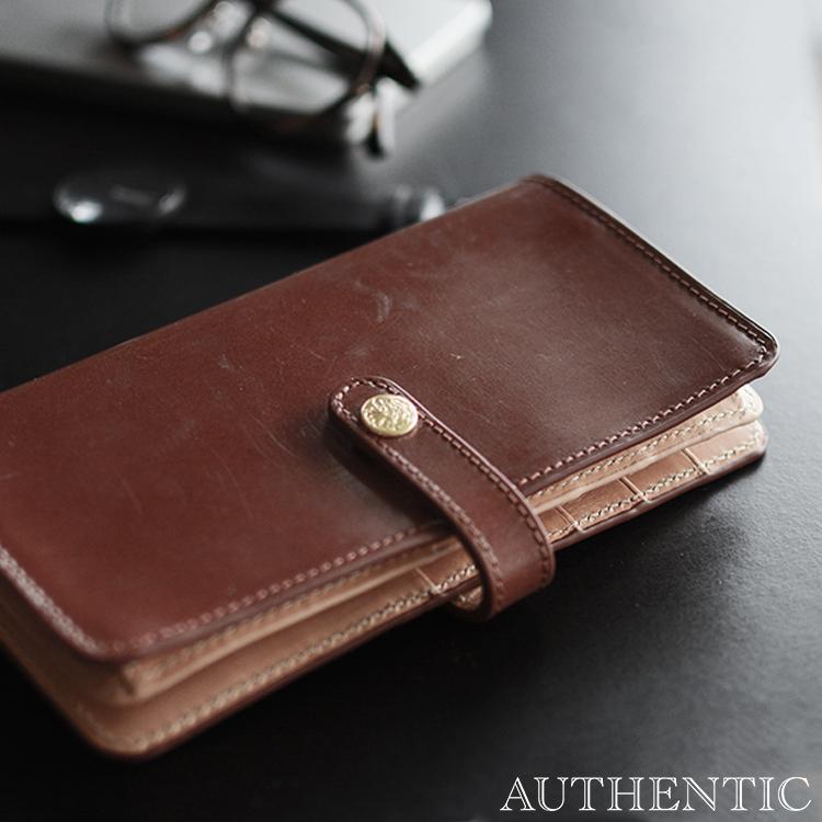 AUTHENTIC オーセンティック 長財布 ブライドルレザー 2つ折り スナップボタン ロングウォレット #1218 【送料無料】