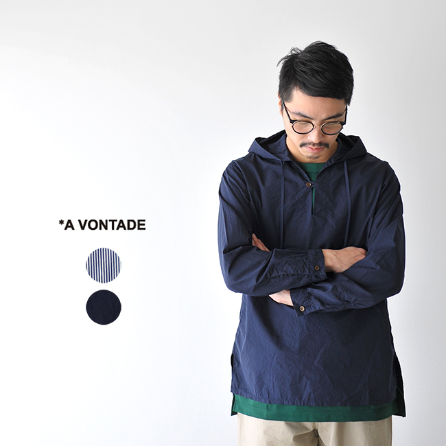 【SALE!20%OFF】A Vontade アボンタージ Hooded Pullover Shirt フード付きプルオーバーシャツ スキッパーシャツ アノラックパーカー・VTD-0274-SH #0216【送料無料】【セール】【返品交換不可】【SALE】
