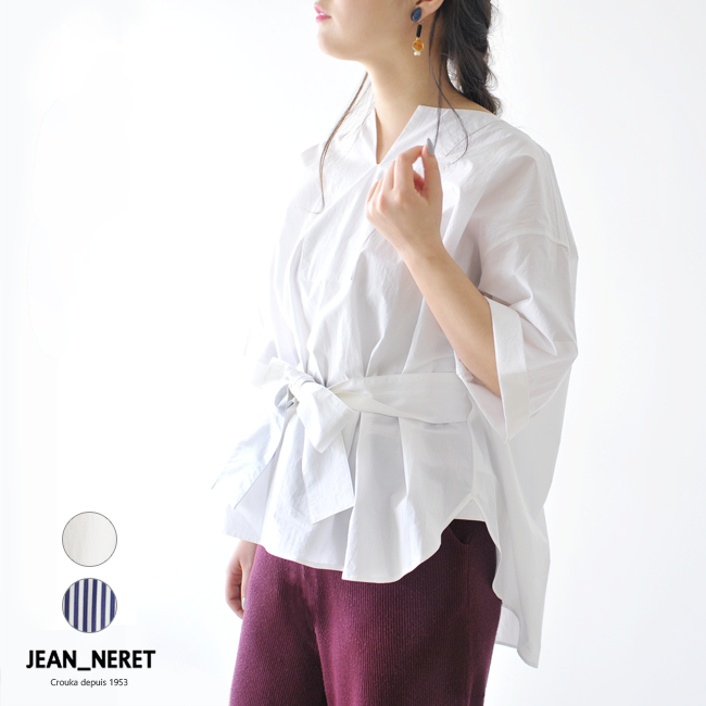 【SALE!20%OFF】JEAN_NERET ジャンヌレ BELTED PULLOVER SHIRTS ウエストリボン プルオーバー シャツ ・18SS-SD01 #0214【送料無料】【セール】【返品交換不可】【SALE】