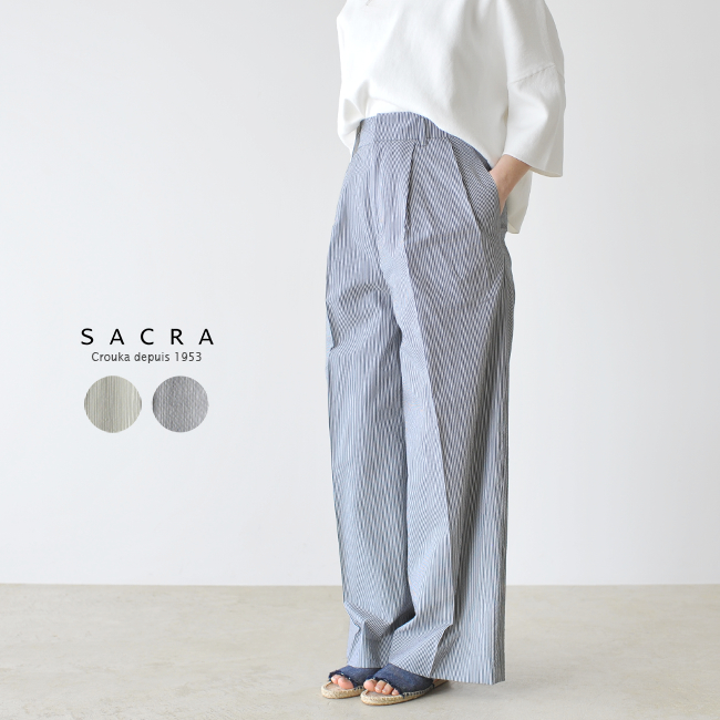 【SALE!35%OFF】SACRA サクラ コットンキュプラ ストライプ ワイド パンツ ・118119111 #0220【送料無料】【セール】【返品交換不可】【SALE】