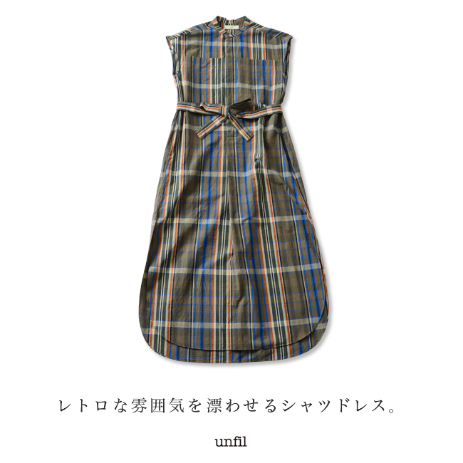 unfil アンフィル checked cotton weather sleeveless shirt dress ノースリーブSzMpqVjLUG