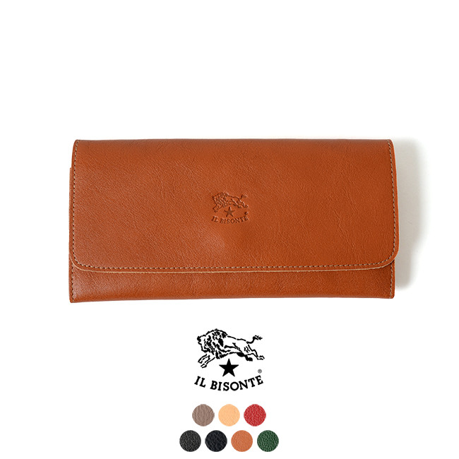 IL BISONTE イルビゾンテ レザーロングウォレット 三つ折り長財布 財布【送料無料】#0330【クーポン対象外】