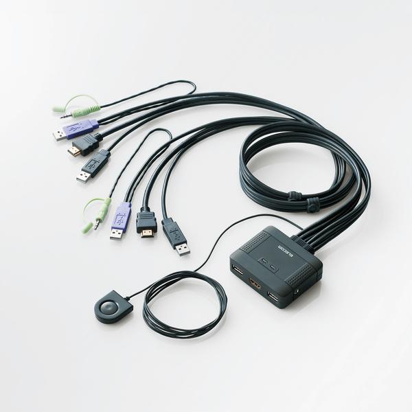 エレコム パソコン切替器(HDMI対応)[KVM-HDHDU2]カラー:ブラック【送料無料※沖縄・離島除く】mac マック プレステ3 WUXGA フルHDマウス共有 キーボード共有 スピーカ共有