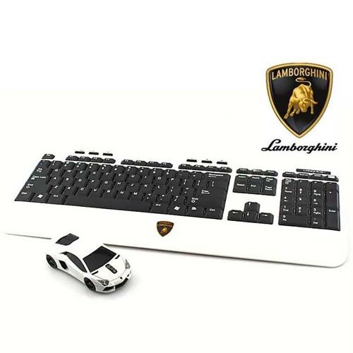 LANDMICE ワイヤレス キーボード マウスセット Lamborghini LB-LP700 (白) [LB-LP700-KM-WH] 【送料無料※沖縄・離島は除く】ランボルギーニ カーマウス クリックカー コードレスマウス ワイヤレスマウス