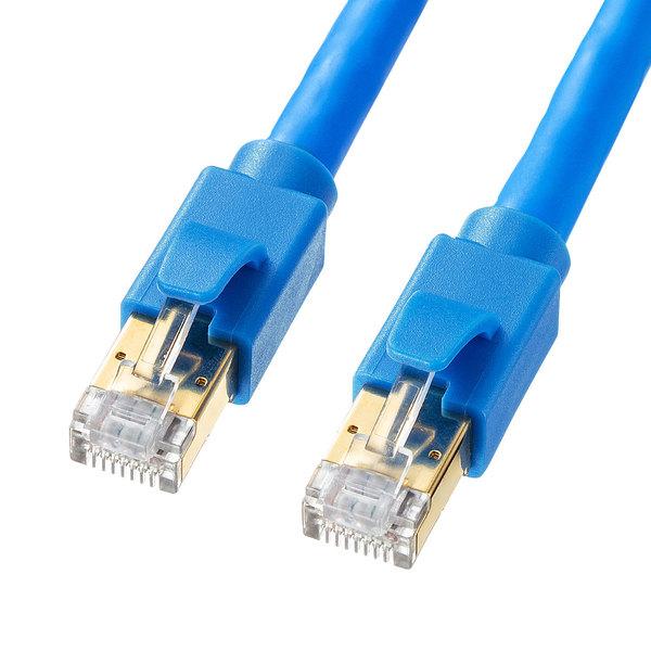 【メーカー直送】サンワサプライ カテゴリ8LANケーブル(ブルー・10m)[KB-T8-10BL]【送料無料※沖縄・離島は配送不可】EMI/RFIノイズ対策 40GBASE-T 40Gbps カテゴリ7A カテゴリ7 10GBASE-T