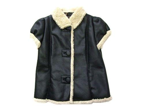 新品同様 MNG MANGO マンゴ 「XS」 パフスリーブムートン半袖ジャケット (ブルゾン ベスト) 042254 【中古】