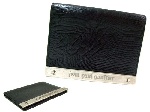 廃盤 Jean Paul GAULTIER ジャンポールゴルチエ 黒メタルプレートリザードレザーパスケースカードケース (ゴルチェ) 047745 【中古】