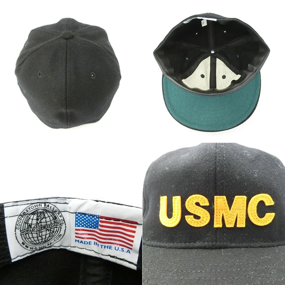COOPERSTOWN BALL CAP Co  Cooperstown ball cap 1922 black USMC felt logo hat  (the Marines) 056315